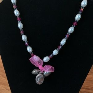 Jewelry - Beaded necklace with heart and portrait charms